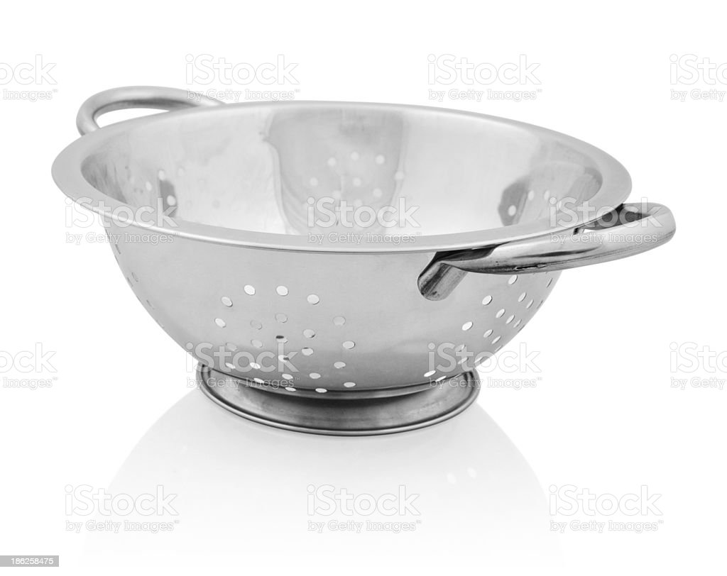 Metal colander isolated stock photo