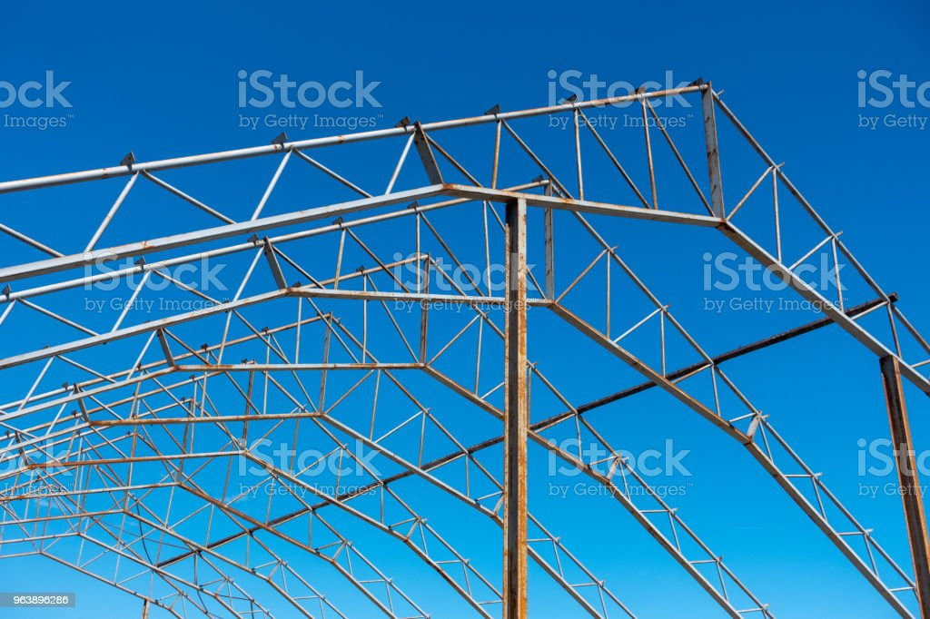 Metal construction skeleton large industrial building - Royalty-free Architecture Stock Photo