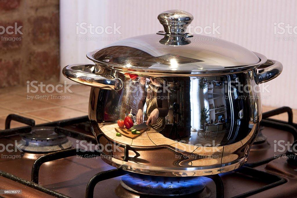 Metal cooking pan on gas burne royalty-free stock photo