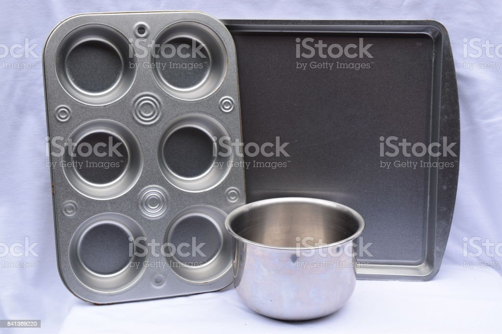 Metal cooking pans and bowl stock photo