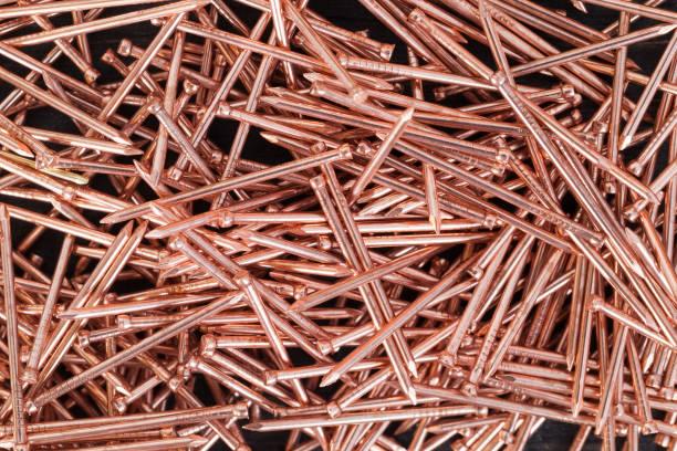 metall kupfer nägel - nägel glitzer stock-fotos und bilder