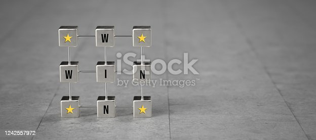 metal cube grid with message WIN WIN on concrete background - 3D rendered illustration
