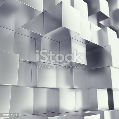 453066423 istock photo Metal cubes abstract background with depth of field effect. 3d 538592796