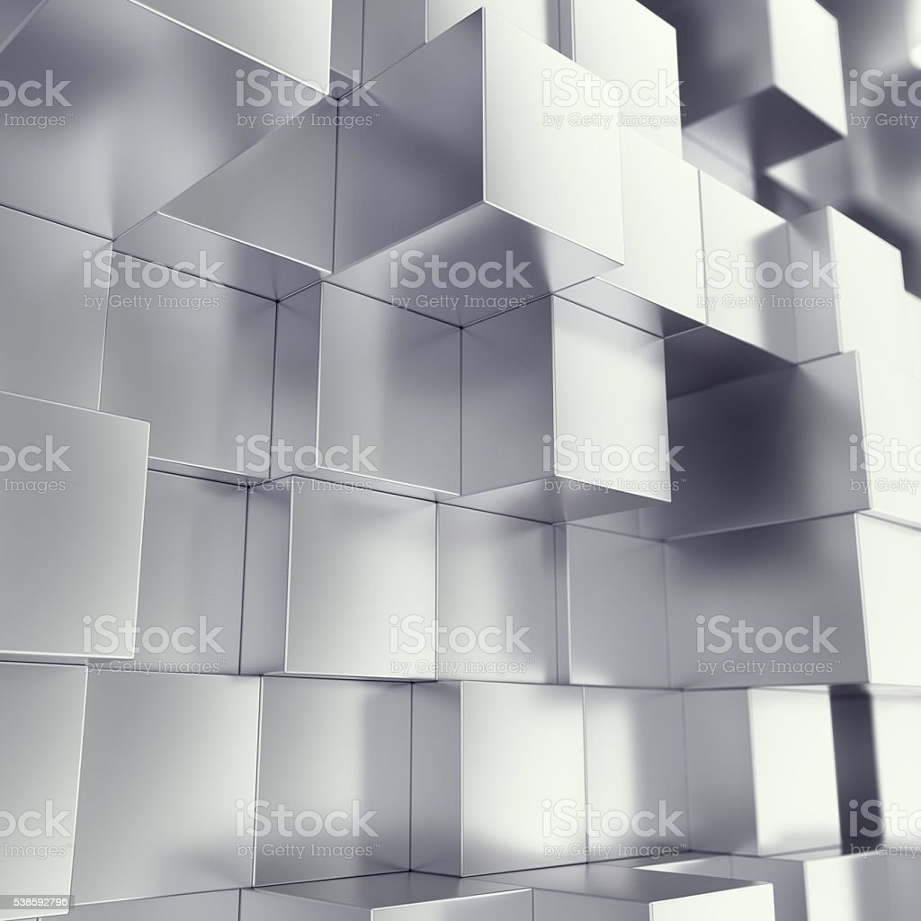 Metal cubes abstract background with depth of field effect. 3d stock photo