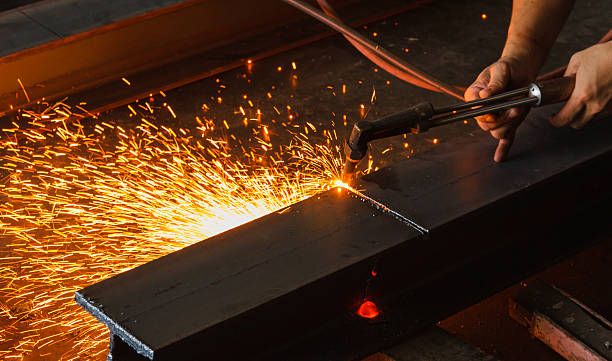 Metal cutter, steel cutting with acetylene torch. stock photo