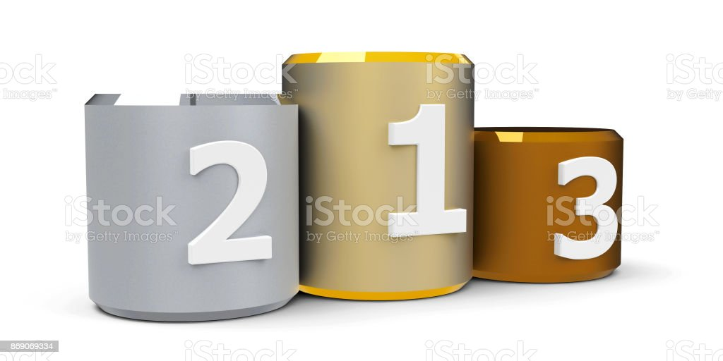 Metal cylinder podium #3 stock photo