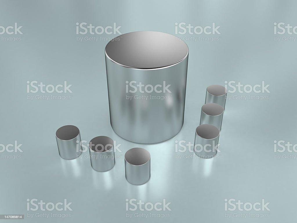 metal cylinders stock photo