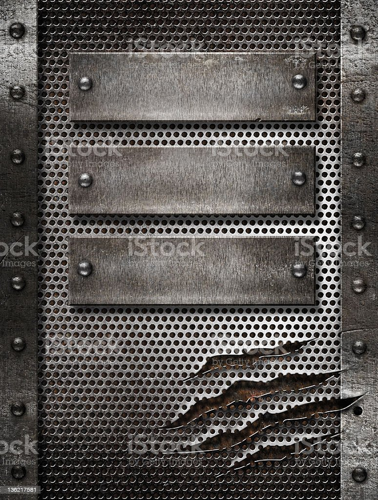 metal damaged grate background with three plates and rivets royalty-free stock photo