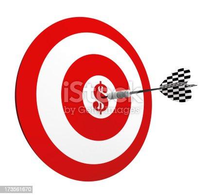 istock 3D Metal Dart in Center Target of Dollar 173561670