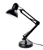 Metal desktop lamp, black lamp, isolated