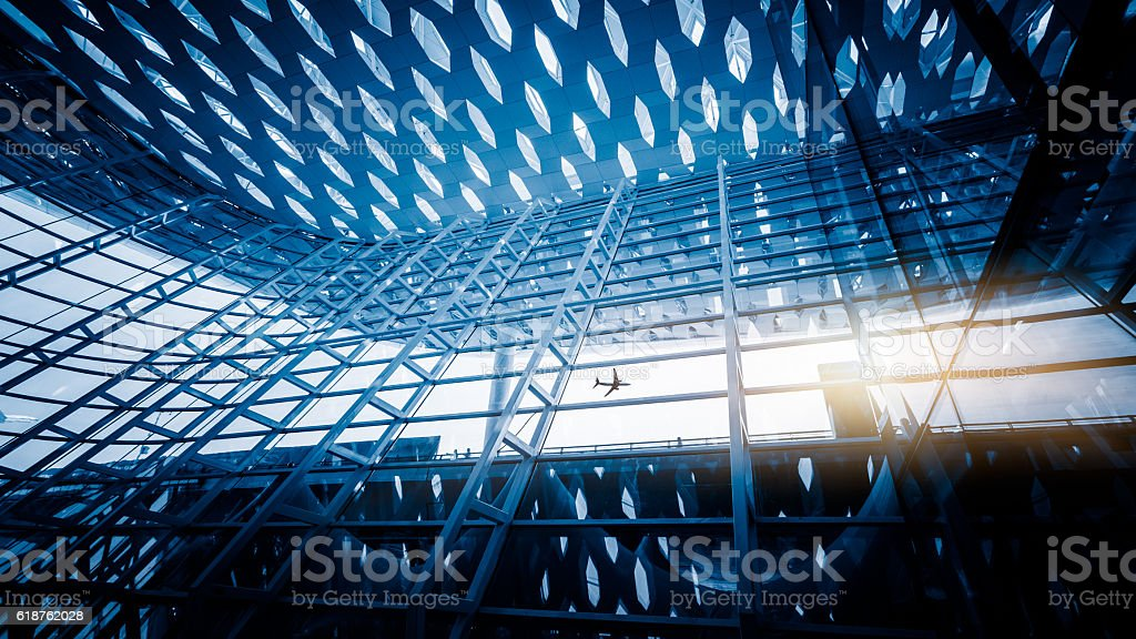 Metal details of an interior of modern office building stock photo