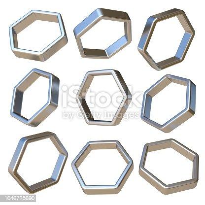 istock Metal dimensional hexagonal 3D 1046725690