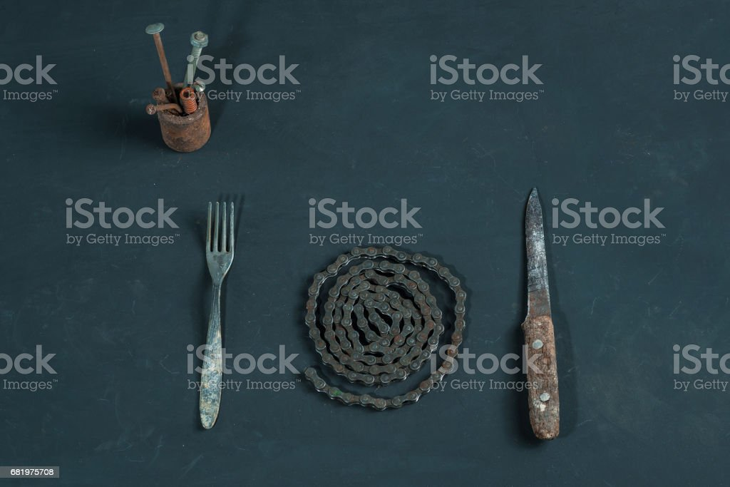 Metal dinner stock photo