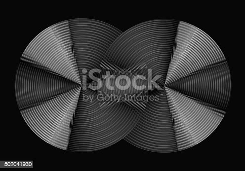 istock Metal discs with concentric tracks. Intersecting sets or master discs 502041930