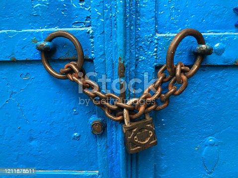 Metal door and lock.
