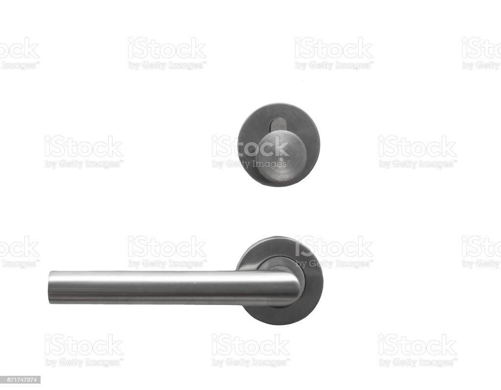Metal door handle lock  isolated on white stock photo