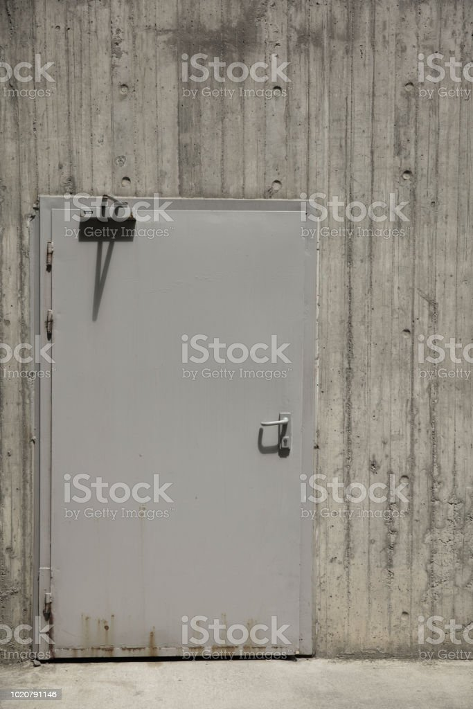 Metal door texture with iron handle stock photo
