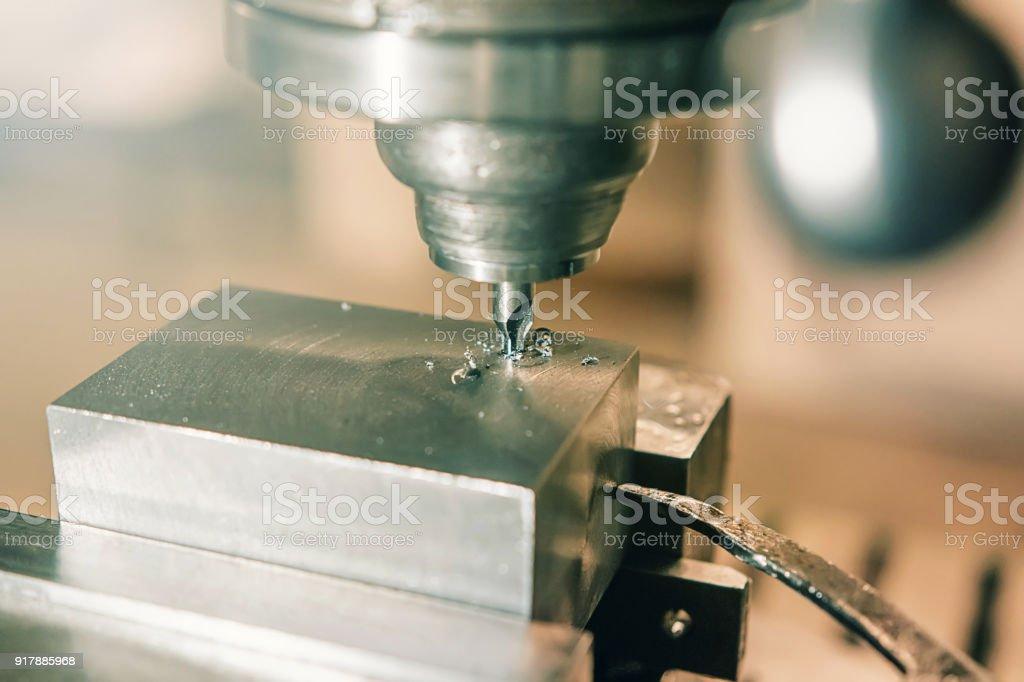 Metal drilling closeup. Metal workshop. stock photo
