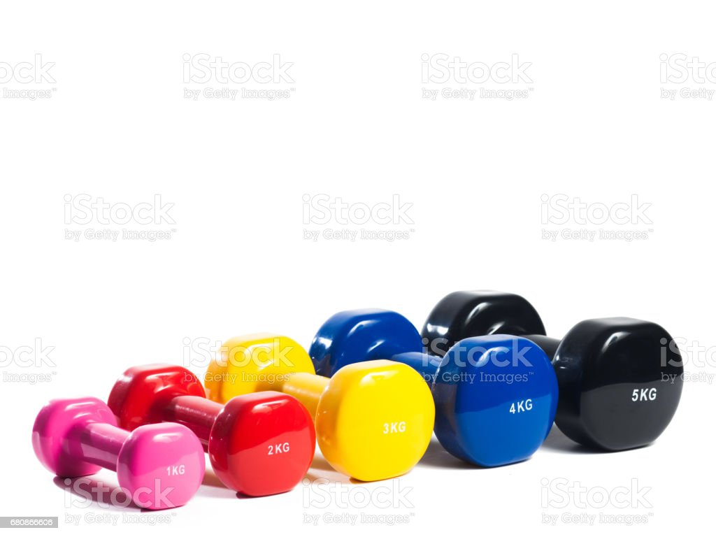 metal dumbbell on isolated background royalty-free stock photo
