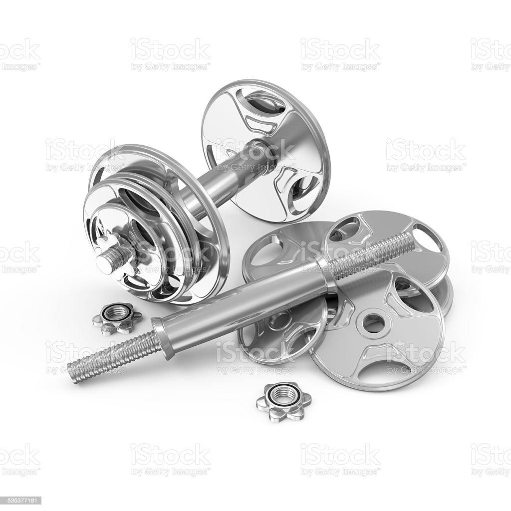 Metal Dumbbells isolated on white background stock photo