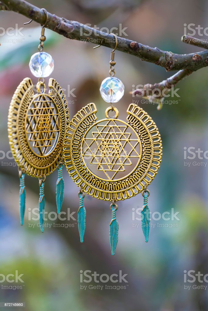 metal earrings stock photo