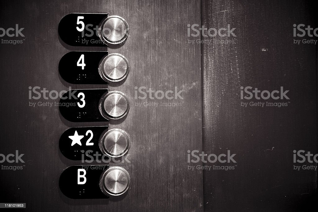 Metal Elevator Floor Buttons royalty-free stock photo