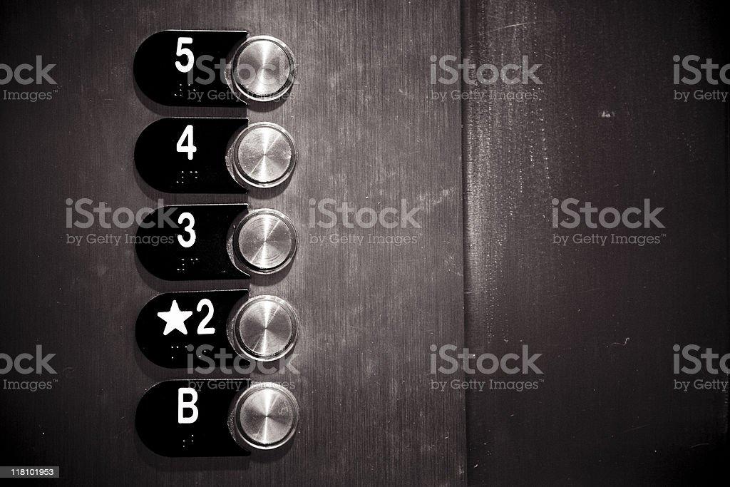 Metal botones en el piso del ascensor - foto de stock