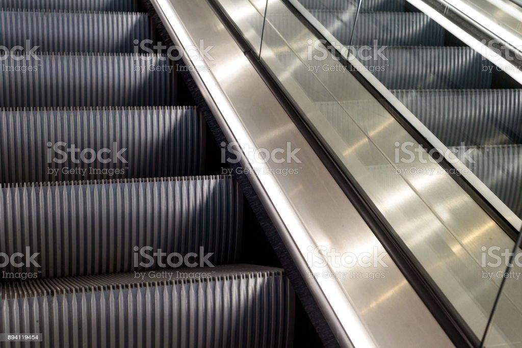 Metal Escalators with Nobody stock photo