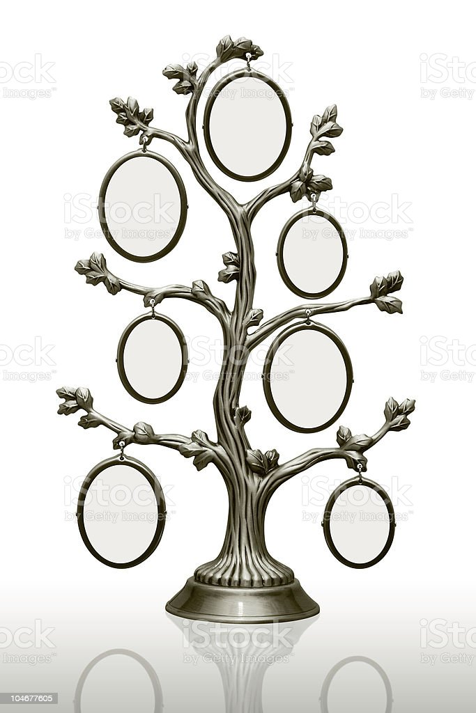metal family tree with frames royalty-free stock photo