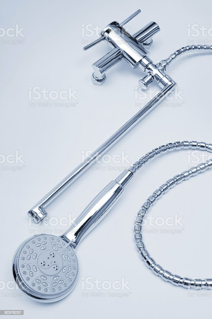 metal faucet and shower royalty-free stock photo
