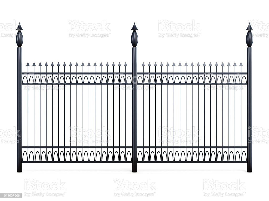 Metal fence isolated on a white background - Photo