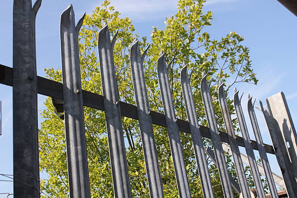 metal fence - palisade boundary stock photos and pictures