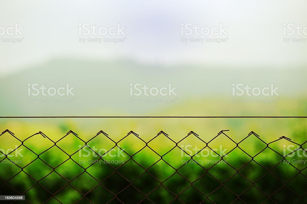 Metal fence with wire royalty-free stock photo