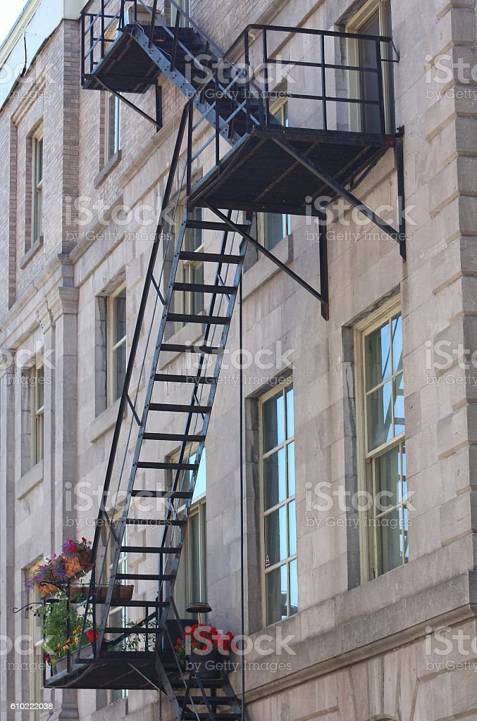 Metal Fire Emergency Exit Stairs Outside An Old Style Building Royalty Free  Stock Photo