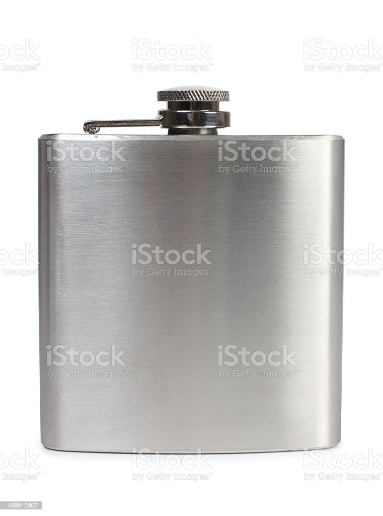 Metal flask stock photo