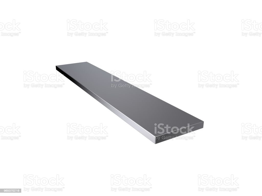 Metal flat bar. Isolated on white background. 3D rendering illustration. zbiór zdjęć royalty-free