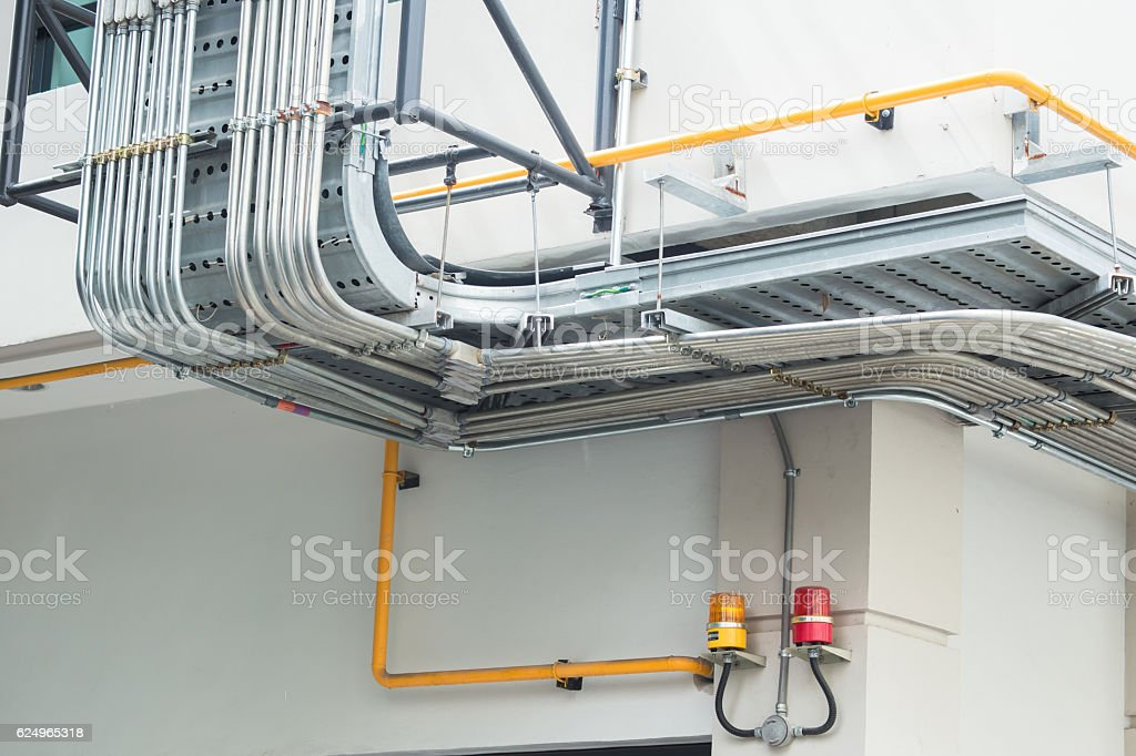 metal flex pipe or outdoor conduit weather proof stock photo