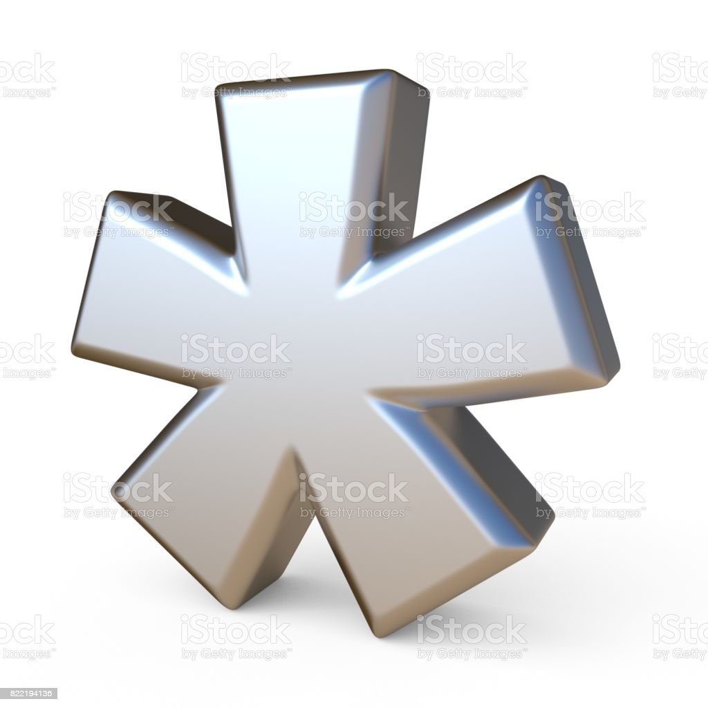 Metal font ASTERISK 3D - foto stock