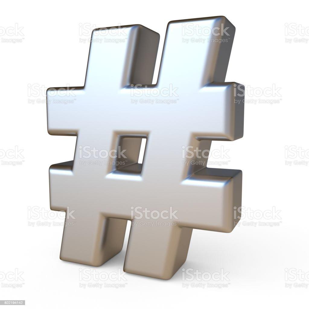 Metal font HASHTAG 3D stock photo