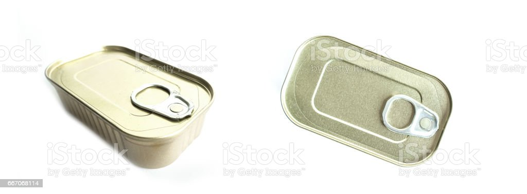 Metal food tins stock photo