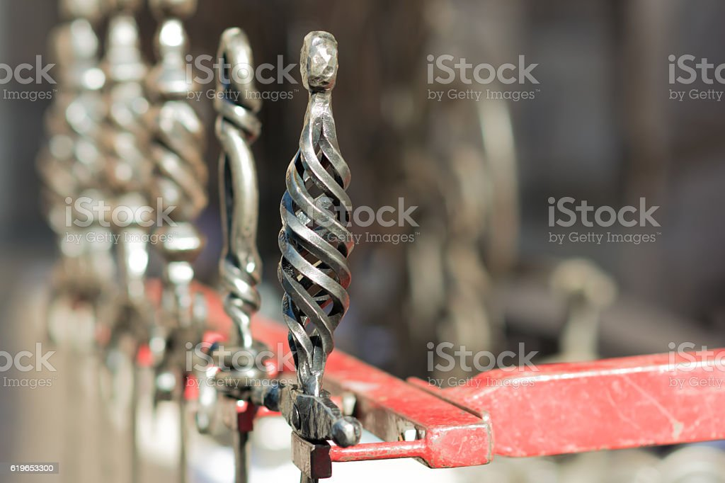 Metal forged into a sword stock photo