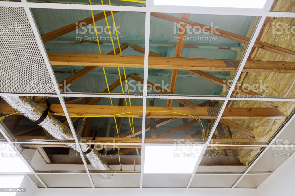 Metal Frame Of Suspended Ceilings Making Of False Ceilings Stock Photo Download Image Now Istock