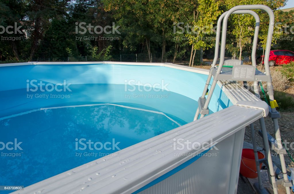 Metal Frame Swimming Pool Ready For A Bath Stock Photo - Download Image Now