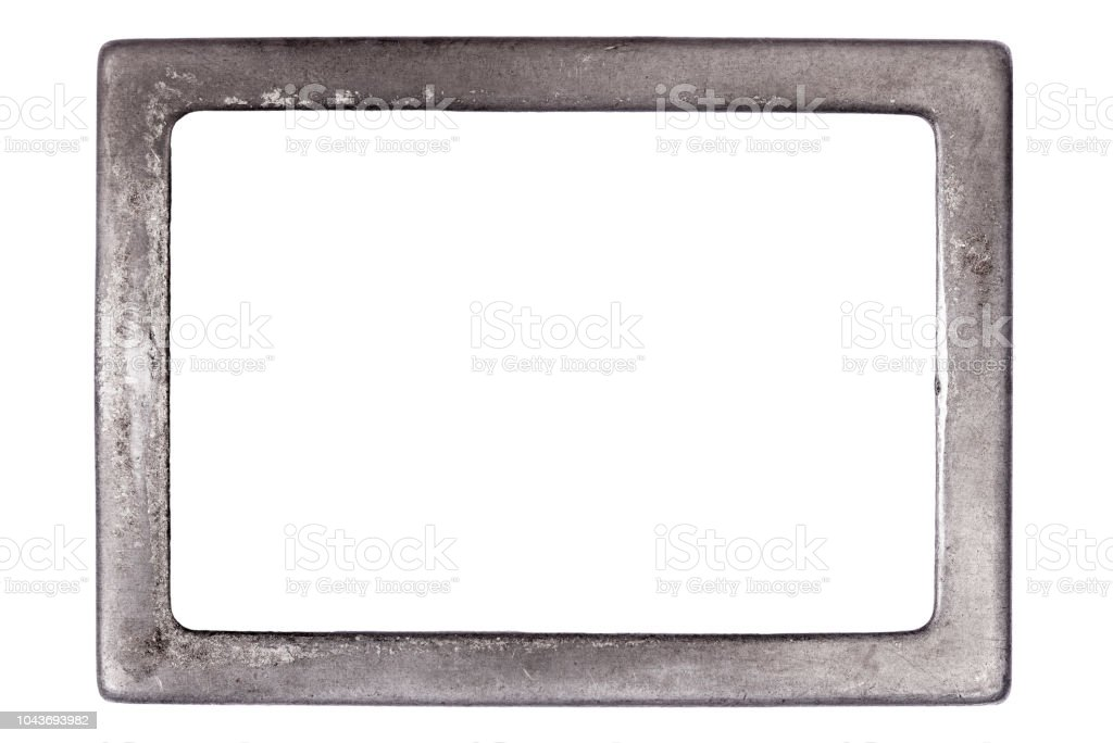 Metal frame with room for text on white background stock photo