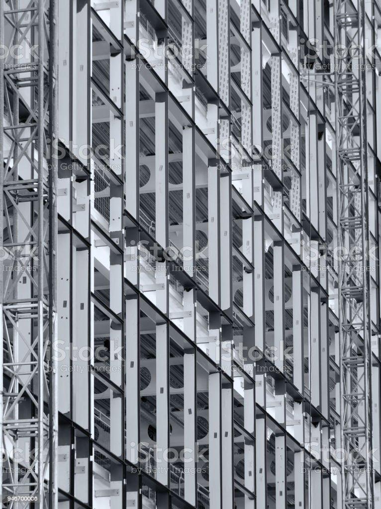 metal framework of large building under construction stock photo
