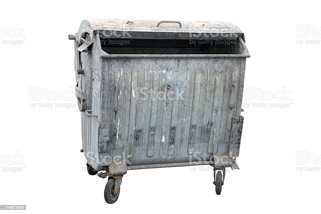 Metal garbage container stock photo