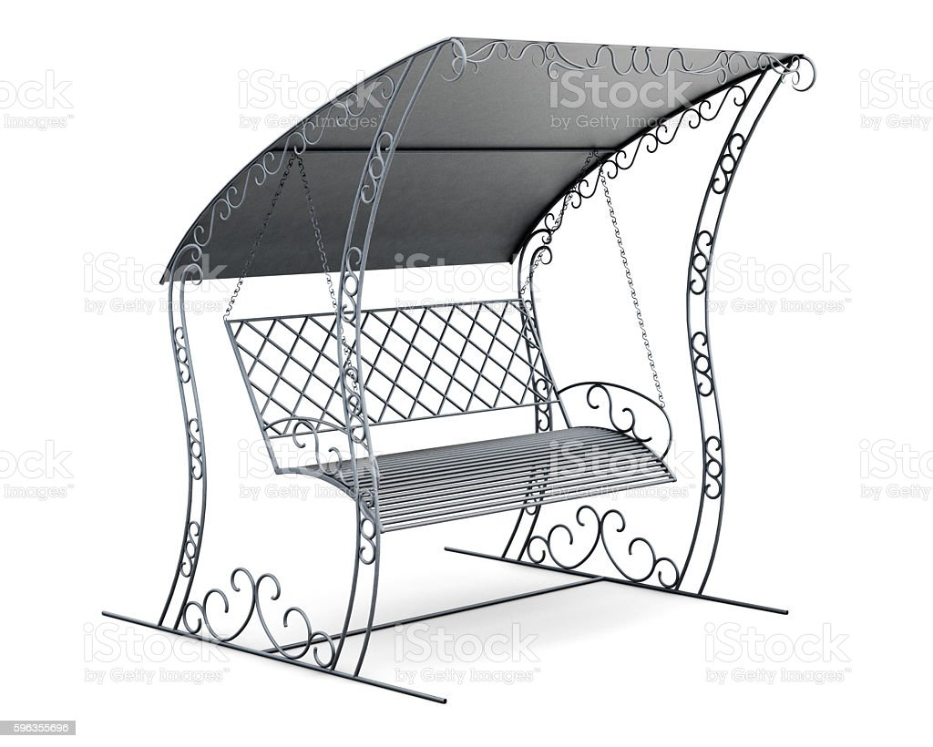 Metal garden swing with canopy. 3d rendering royalty-free stock photo