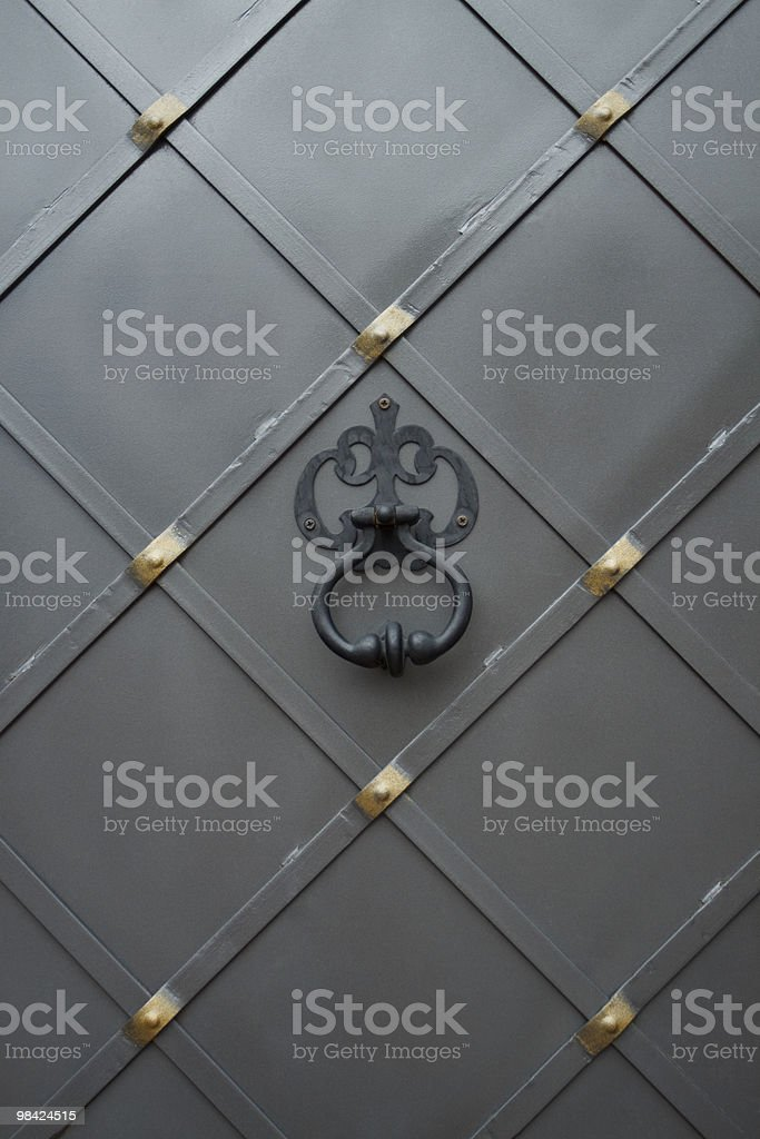 Metal gate with handle royalty-free stock photo