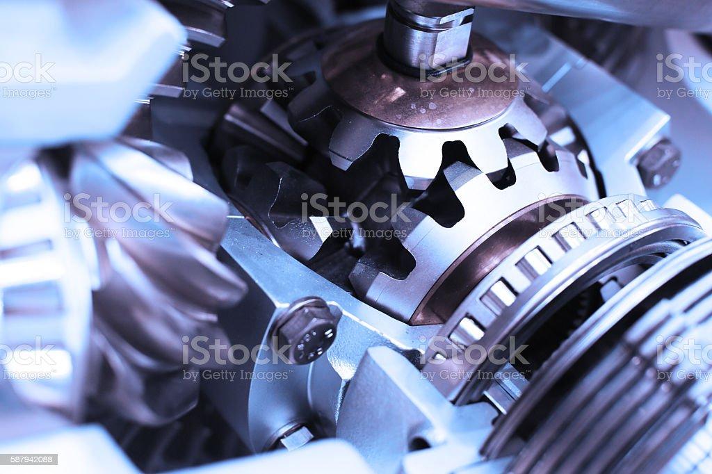 Metal gear close-up of a fragment of a complex mechanism – Foto