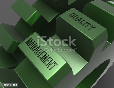 Metal Gears on Black Background. management quality . 3d rendered illustration